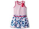 Bloom Drop Waist Dress w/ Stripe Bodice Chiffon Flowers (Toddler/Little Kids)