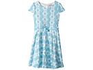 Daisy Lace Cap Sleeve Dress w/ Belt & Full Skirt (Big Kids)