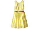 Scuba & Mesh Sleeveless Bow Back Dress w/ Belt & Full Skirt (Big Kids)