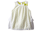 Eyelet Sleeveless Dress Over Neon Yellow Jersey with Bow Ruffle Back w/ Snaps (Infant/Toddler)
