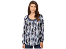 0540 Feather Print Peasant Blouse