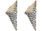 Two-Tone Crystal Encrusted Pyramid Post Earrings
