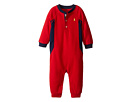 Cotton Poly Waffle Henley One-Piece Coveralls (Infant)